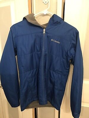 Youth Columbia jacket Size Large Reversible Blue And Gray Full Zip