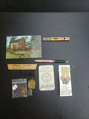 Sunman Indiana Gillman lot advertising purdue medals military pin RARE 60s