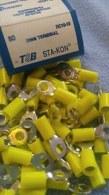 50 Sta-Kon RC10-10 Ring Terminal Connector Insulated #10 bolt 12-10 awg T&B