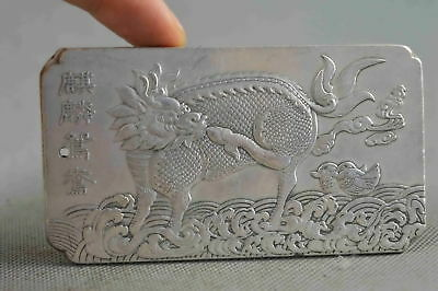 Kylin Amulet Chinese Collectable Tibet Silver Hand Carved Auspicious Beast