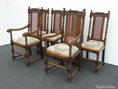 Set of Six Antique Oak Barley Twist Cane Back Dining Room Chairs with Leopard &