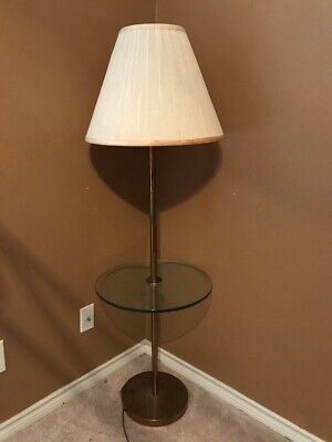 Antique Vintage Floor Lamp With Glass Table And Heavy Base.
