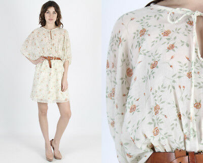 Vintage 70s Sheer Ivory Floral Draped Boho Hippie Secretary Batwing Mini Dress M