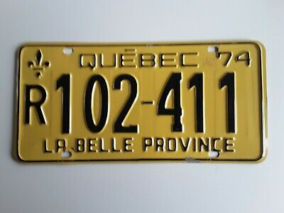 Quebec 1974 License Plate R 102 411