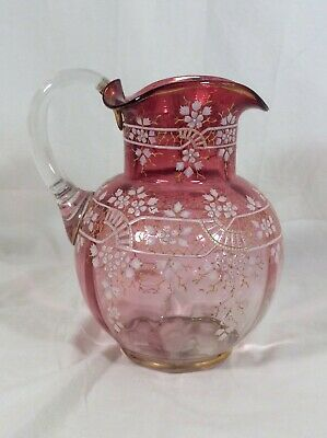 Antique Victorian CRANBERRY Stained Enameled Ruffled WATER PITCHER Lattice Lace