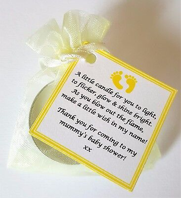 Baby Shower Candle Tea Light Favours Blue Pink Yellow Elephants Baby Feet Stork