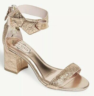 df45a3dc6 Bnib Authentic Ted Baker Kerria Rose Gold Sandals Shoes Size Uk 7 Eur 40  Usa 9.5