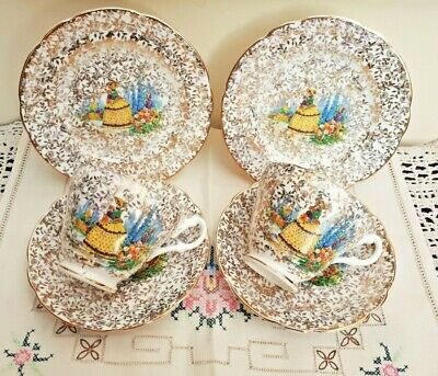Pair of English Bone China CRINOLINE Lady Tea Trios Cups, Saucer & Plate VGC