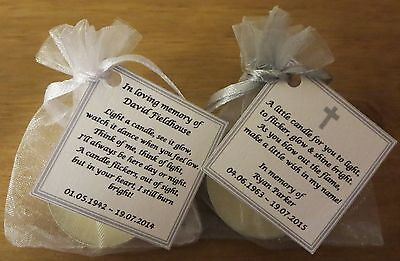 10 Funeral Personalised Remembrance candle favours. Light in memory. Condolence