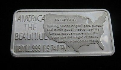 1974 America The Beautiful 'BROADWAY' 1 troy oz Fine Silver Art Bullion .999 Bar