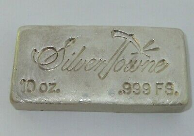 Vintage SILVERTOWNE Hand Poured 10 Troy Ounce Bar .999 Fine Silver FROSTED LOAF