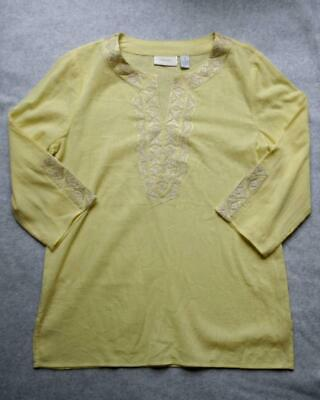 a02eef99c25 Chicos Tunic Shirt sz 1 8 Yellow Cotton Gauze Silver Embroidered Blouse Top