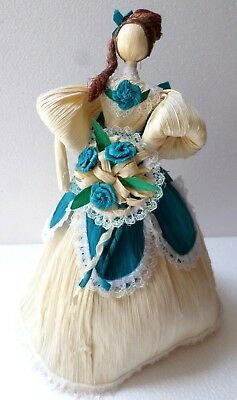 Mexican Folk Art Corn Husk Doll Figure Lupita Decor Folklorico Tehuantepec
