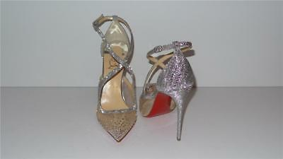 1245 Christian Louboutin Twistissima Strass 100 Silver Crystal Pumps Size 40 5