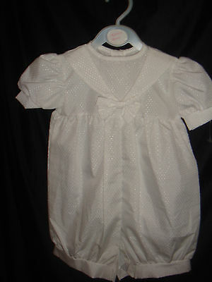 MADE IN ENGLAND White baby boy cotton sailor romper christening  0/12 mths BNWT