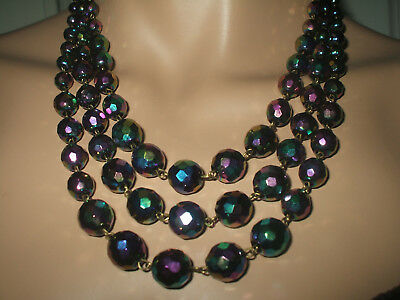 SUPERB VINTAGE 1950's STYLE TRIPLE STRAND IRRIDESCENT CARNIVAL GLASS NECKLACE