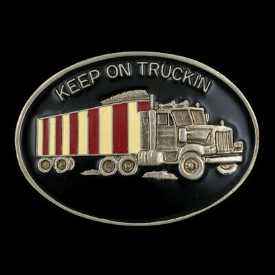 Vtg NOS 1970s Keep On Trucking Truck Trucker Semi Driver Big Rig Belt Buckle
