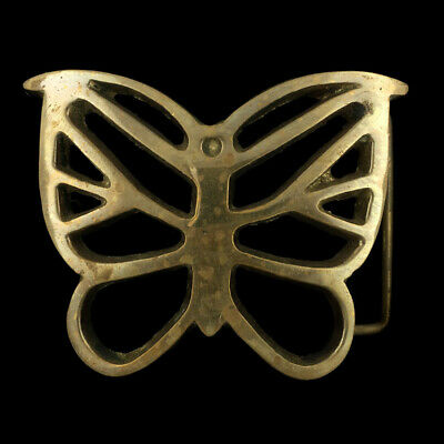 Vtg 1970s Butterfly Bug Insect Beautiful Nature Hippie Brass Belt Buckle