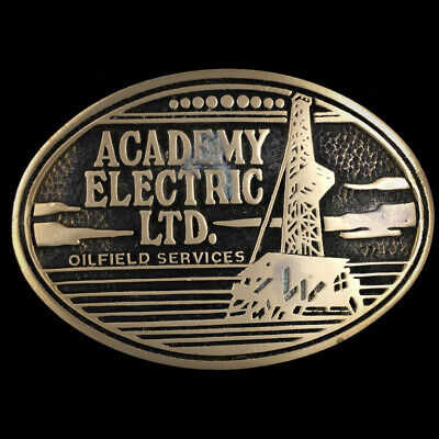 Vtg Academy Electric Ltd Oilfield Oil Field Advertising Solid Brass Belt Buckle