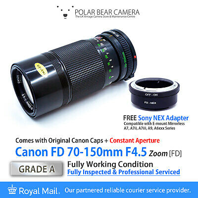 Canon FD 70-150mm F4.5 Constant Fast Zoom + Sony NEX Adapter [GRADE A, SERVICED]