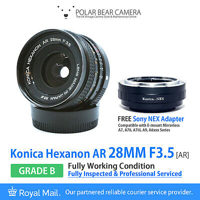 Konica 28mm F3.5 Hexanon AR Wide Angle + Sony NEX FE Adapter [GRADE B, SERVICED]