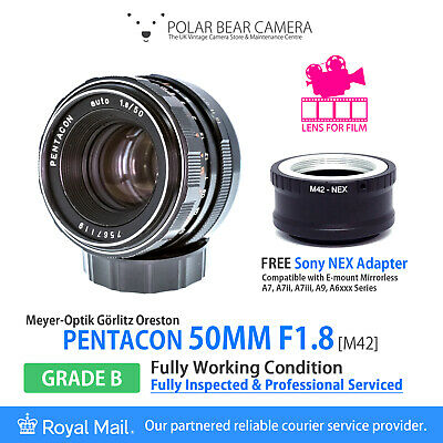Pentacon 50mm F1.8 *DE-CLICKED* + Sony NEX FE E-mount Adapter[SERVICED, GRADE B]