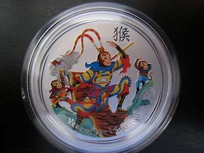 2016 Perth Mint Lunar Series 2 Year of the Monkey King 1 Oz Color Silver BU Coin