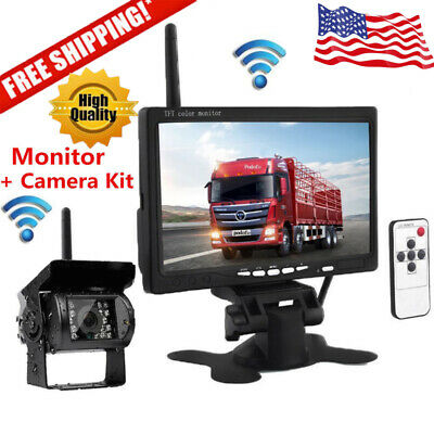 """Wireless IR Rear View Backup Camera Night Vision System 7"""" Monitor For RV Truck"""