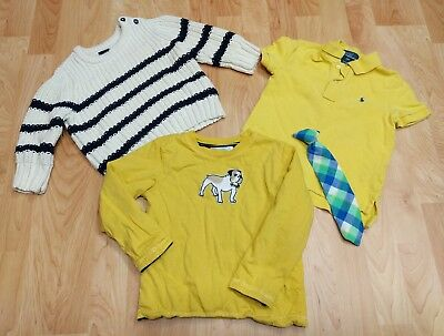 Lot of Boys 2T Toddler GAP Sweater Polo Ralph Lauren Yellow Janie & Jack GUC tie