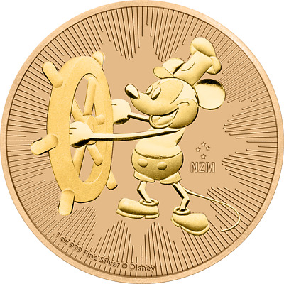 2017 Nieu 2$ Steamboat Willie Mickey Mouse Jeans 1 Oz 999 Silver Coin
