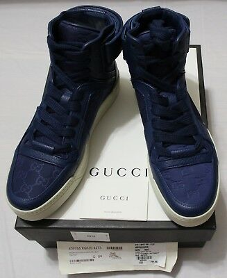 af4196cd4 GUCCI SNEAKERS GUCCISSIMA NYLON LEATHER SIGNATURE HIGH TOP $795 sz ...