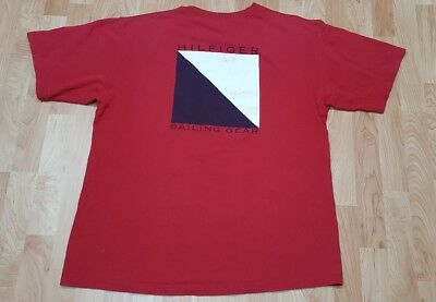 287198282 vtg usa made 90s TOMMY HILFIGER SAILING GEAR tee Red t-shirt LARGE swag hip