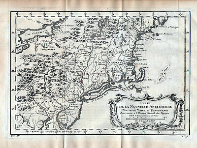 1750 New York Rhode Island New Hampshire Jersey Maine map engraving Bellin