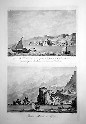 ca. 1820 Scilla Messina Italia veduta incisione engraving acquaforte Saint Non