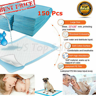150 Disposable Bed Pads Adult Incontinence Underpads Pee Urinary 23x36