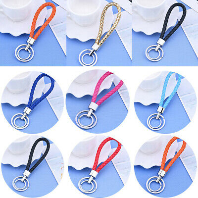 Multi-Color Two Circle Weave Rope Strap Key Ring Key Chain KeyFob Keychain Gift