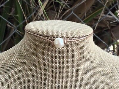 Bronze Leather Pearl Choker, Bronze  Leather Pearl Necklace w/Gift Bag