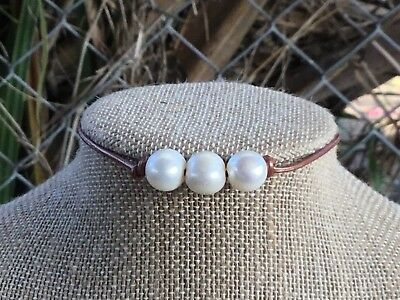 Triple Pearl Leather Choker, Leather and Pearl Choker Necklace w/Gift Bag