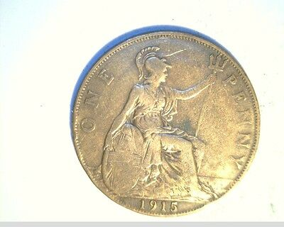 1915 Great Britian Large Penny, Medium to High Grade Bronze Coin, (UK-203)