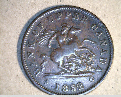 1852 Upper Canada, One Penny Bank Token, Med to High Grade Copper   (Can-76)