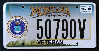 "MONTANA "" US AIR FORCE VETERAN BIG SKY 2010 MT Military Specialty License Plate"