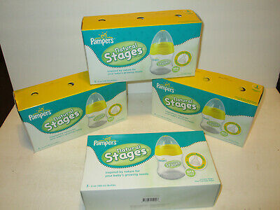 Pampers Natural Stages  4 packs of Three  5oz Bottles 12 total Stage One  NEW!!!
