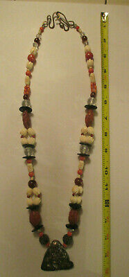 "Vintage  30"" Chinese CORAL/BONE Carved Amulet  Necklace Sterling BUDDHA PENDENT"