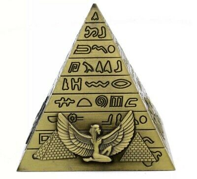 Metal Egyptian Pyramid Pharoah Art Statue Office Desktop Decor Figurine Souvenir