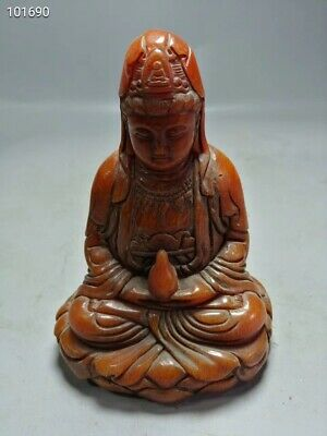 China Exquisite Hand-carved Carving Avalokitesvara OX Horn Statues NJ40