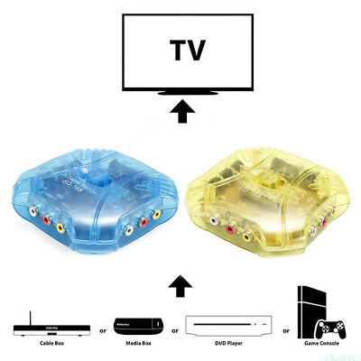 3-Way Audio Video AV RCA Switch Selector Box Splitter For PS3 PS2 DVD Cable QP1