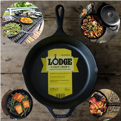 "Cast Iron Skillet Lodge 10.25"" Pre Seasoned Non-Stick Pan Cookware Grill Stove"