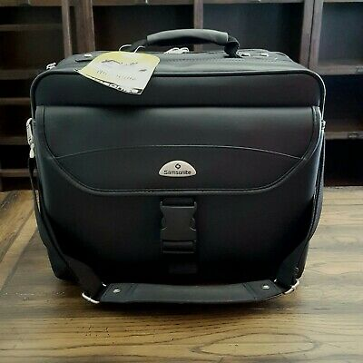 Samsonite Leather Briefcase Black Non-Wheeled Notebook Laptop Business Case NEW