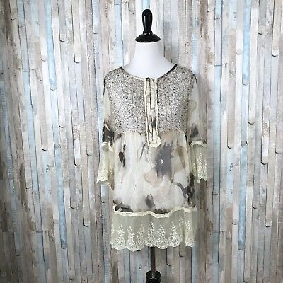 Sundance M Floral Silk Chiffon Top Peasant Blouse Embroidered Lace Scalloped