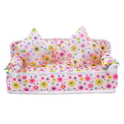 Mini Furniture Flower Fabric Sofa Couch + 2 Cushions for Doll House Access Beat